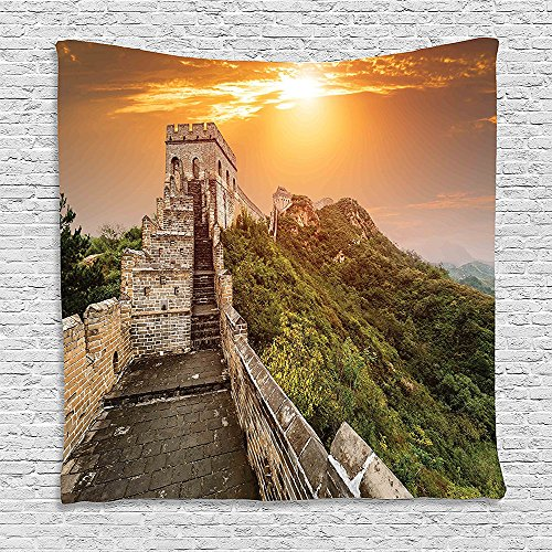 Orange Wool Brick Mens - SCOCICI Supersoft Fleece Throw Blanket Great Wall of China the Magnificent Heritage of World Background Brick Borders Picture Orange Green 59 x 59 Inches