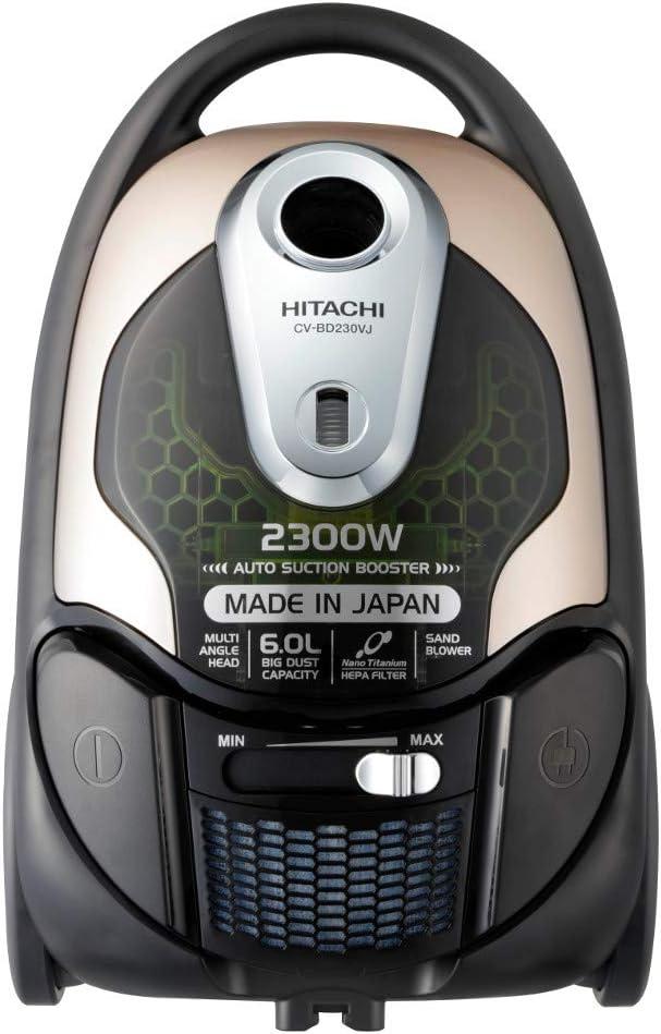 مكنسة هيتاشي الكهربائية، سعة 6 لتر واستطاعة 2300 واط، فلتر هيبا ونانو، لون شمبانيا معدني، CV-BD230VJ 220 CM