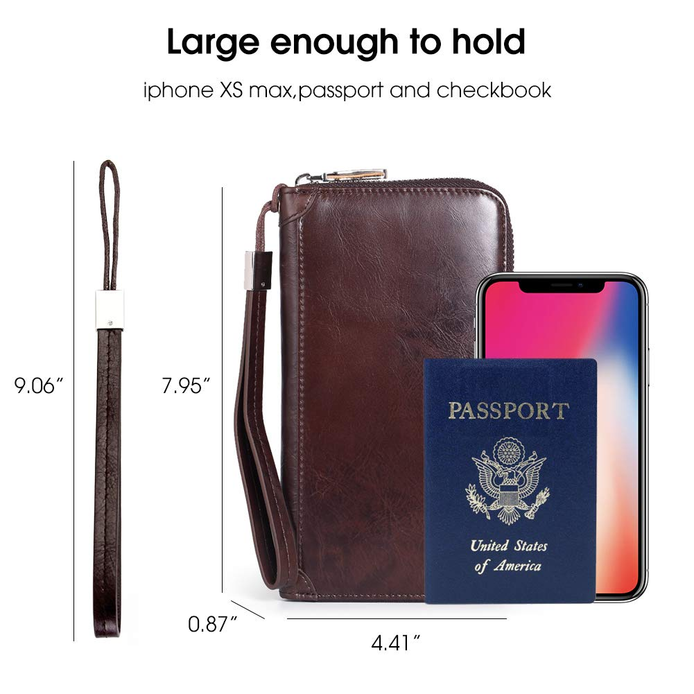 Mens Wristlet Bags Around Wallet Zip Travel Purse Wallet Womens RFID Blocking Genuine Leather Clutch Large with a Wristlet Strap for Mens