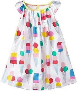 ZYUEER Kinderkleidung Kleinkind Kinder Baby Mädchen Cartoon EIS Gedruckt Casual Kleid Kleidung