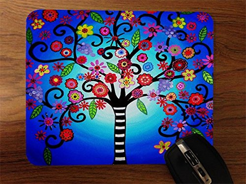 whimsical-floral-tree-of-life-desktop-office-silicone-mouse-pad