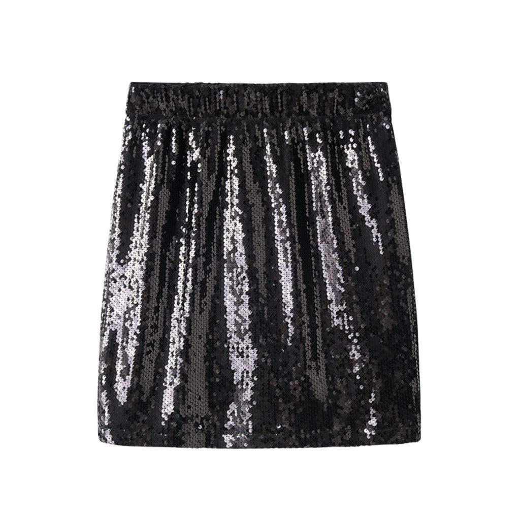 Hokoaidel Mujer Falda Corta B/ásica,Nuevo Primavera y Verano Lentejuelas Mujer Falda L/ápiz Femenino Paso Adelgazante Cintura Maxi Faldas