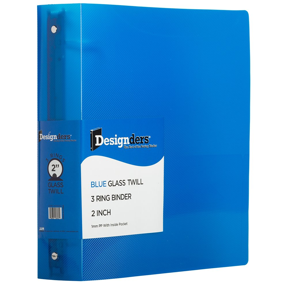 JAM Paper® Designders® - Plastic 3 Ring Binder - 1 Inch Width - Clear - Sold Individually 751T1cl