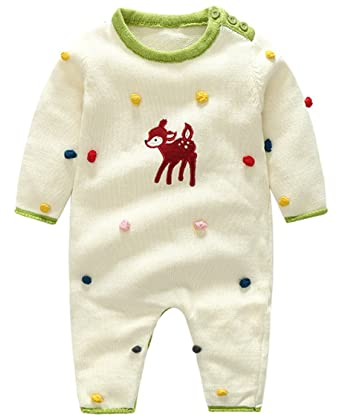 ef4e9540aaab EOZY Infant Footless Romper Pajamas Fawn Embroidery Cotton Outfits White  90  Amazon.co.uk  Clothing