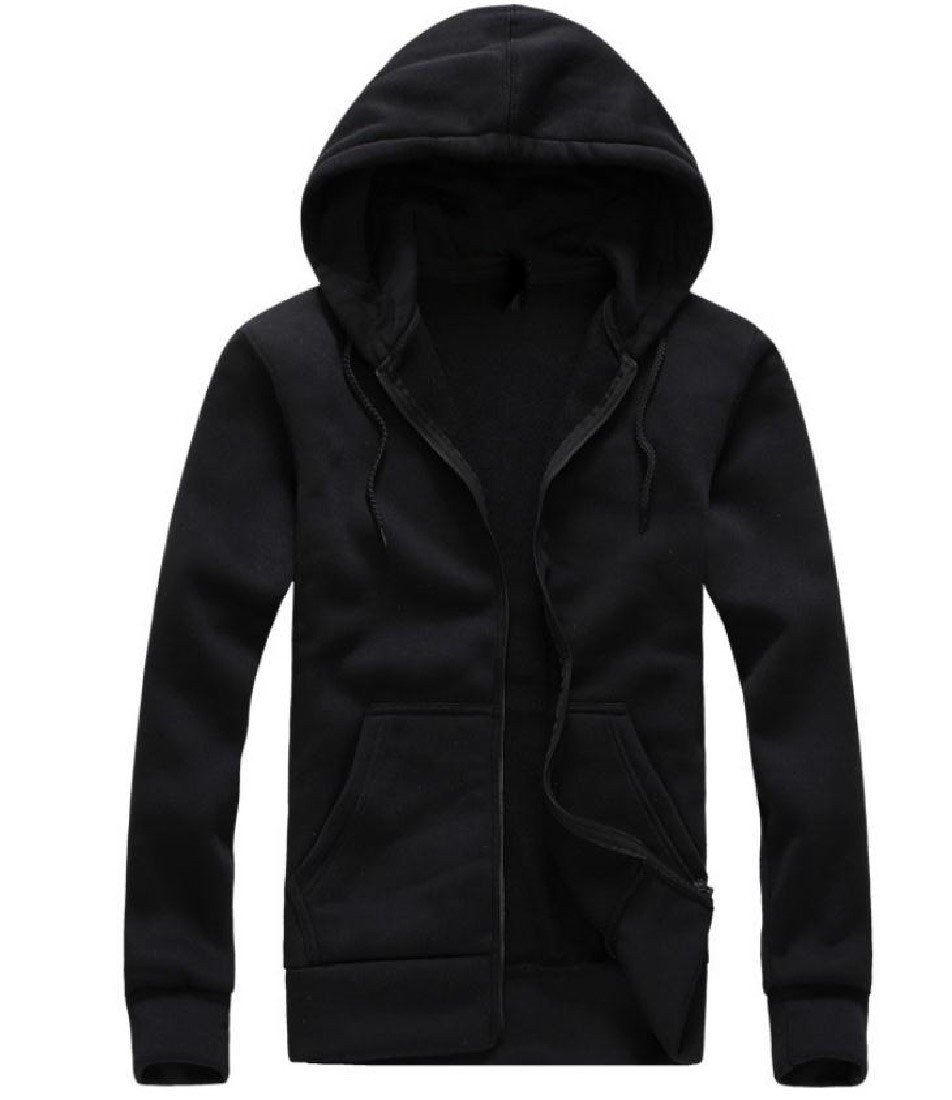 Doufine Men Plus Velvet Zipper Hood Sporty Sweatshirt Hoodies Jacket Black L