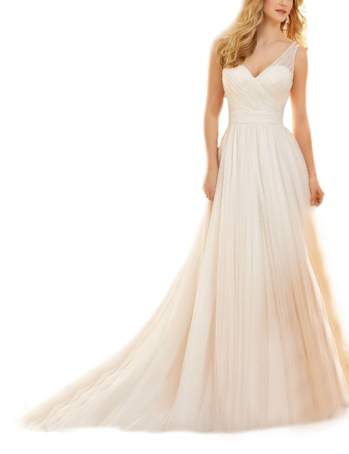 Monalia Womens A Line Bridal Gown Tulle V Neck Wedding Dress For