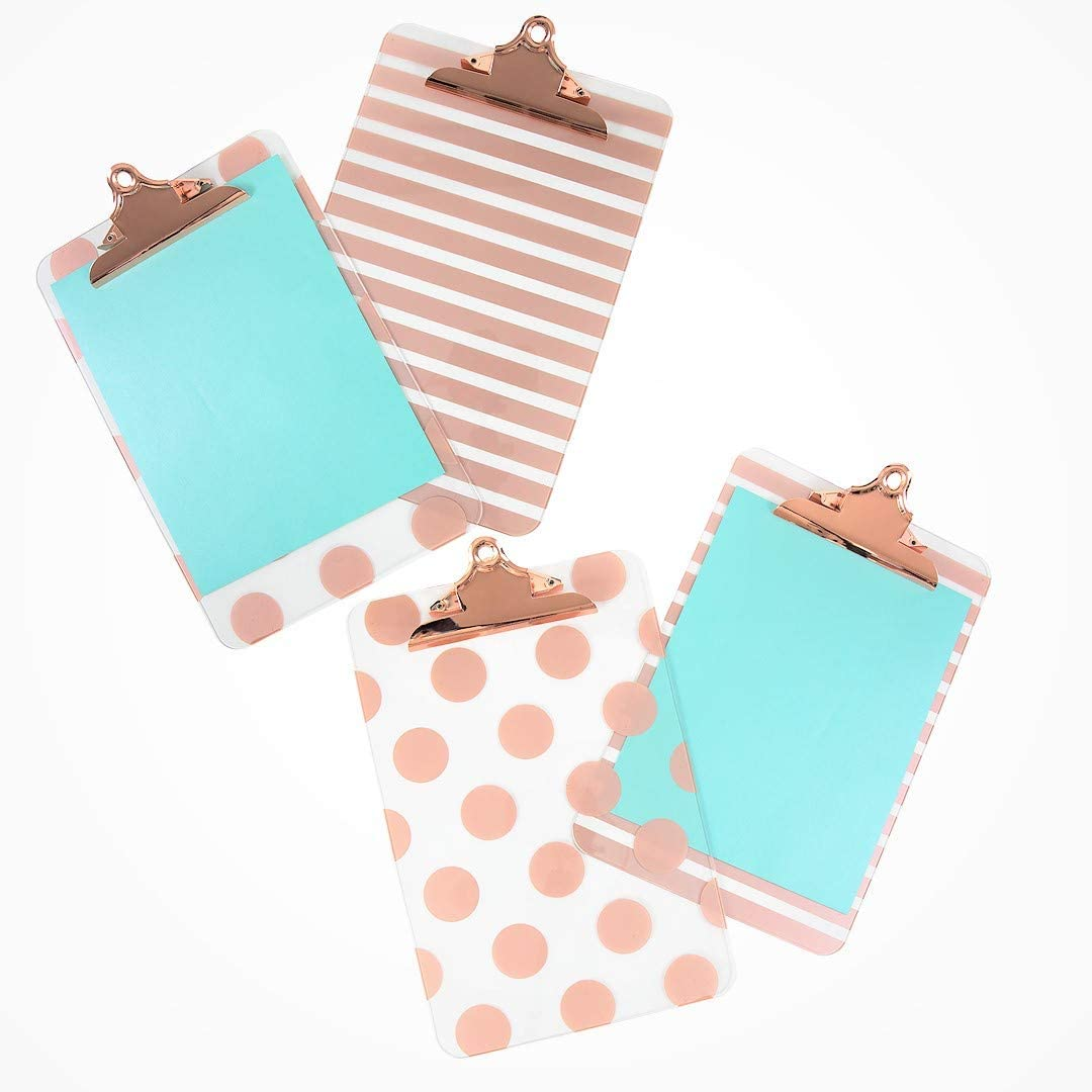 Blu Monaco Decorative Clipboard - Set of 4 Rose Gold Clipboards - 2 with Rose Gold Stripes, 2 with Rose Gold Polka Dots - Standard Letter - A4 Size - Cute Clipboard