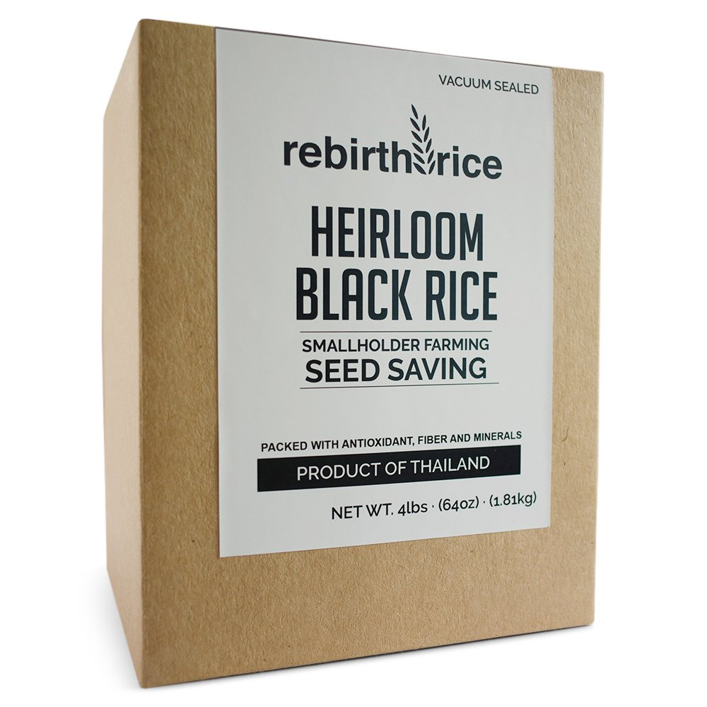 Rebirth Rice Heirloom Thai Black Rice, 4lb/64oz, VACUUM SEALED | NON-GMO & Direct Trade | Farming Reference: We tell you where our rice grows