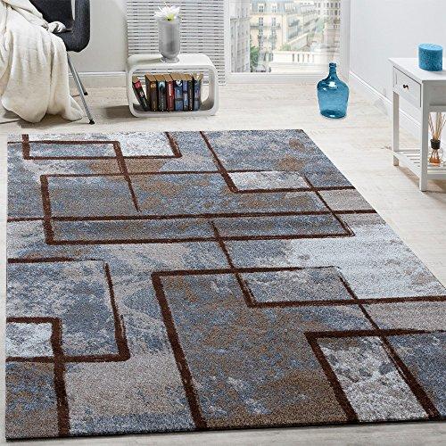 Designer-Teppich-Modern-Kurzflor-Abstrakt-Gemlde-Optik-Braun-Beige-Creme