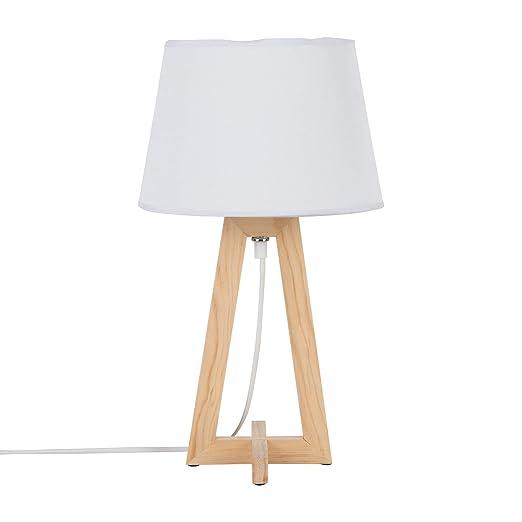 acheter en ligne les ventes chaudes nouveaux produits pour KASA Lampe de Table de Chevet, Base en Bois, Blanc: Amazon ...