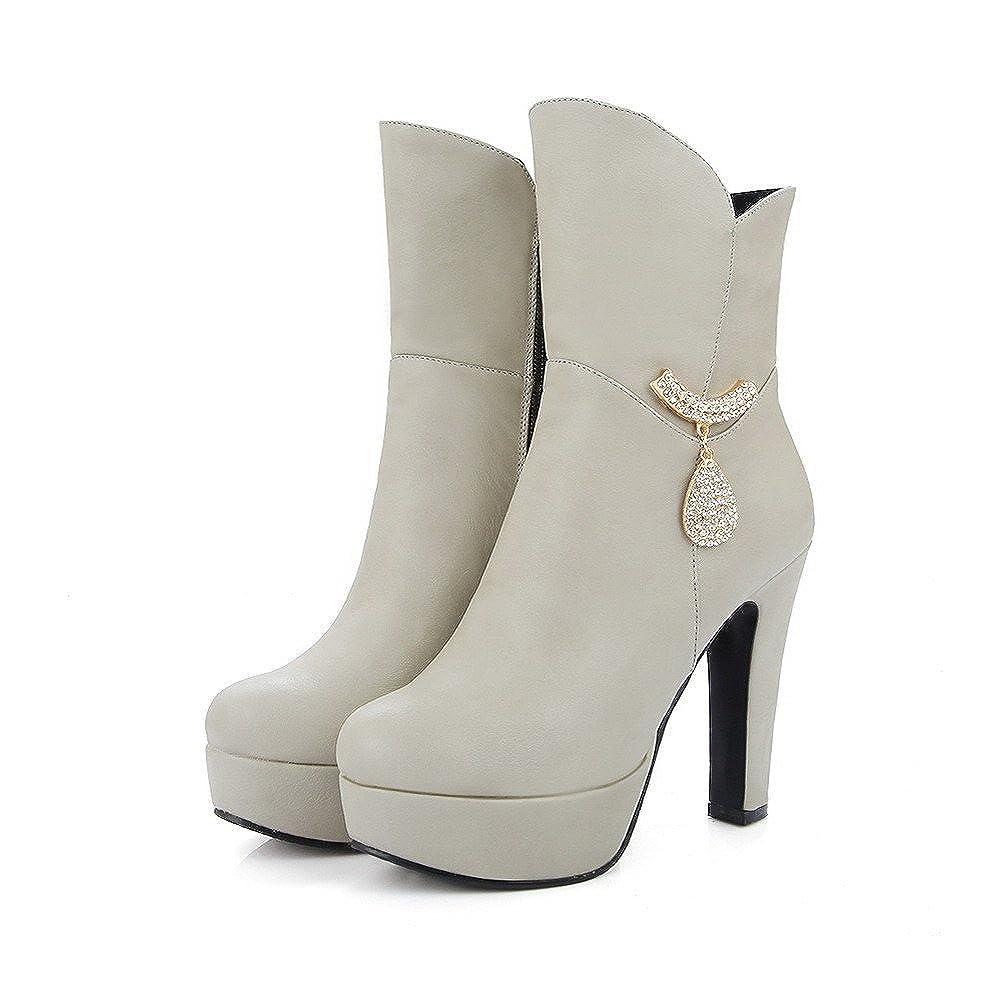 VogueZone009 Womens Zipper High Heels Pu Solid Mid Top Boots