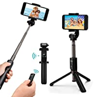 Bastone selfie Mpow 3 in 1 Bluetooth treppiede estensibile, 360 ° rotazione selfie stick cavalletto con Bluetooth controllo remoto per iPhone XS max/XS/XR/x/8 Plus/8/7, Android Saumsang S8/Saumsang Galaxy S8, Google, OnePlus, Honor 8