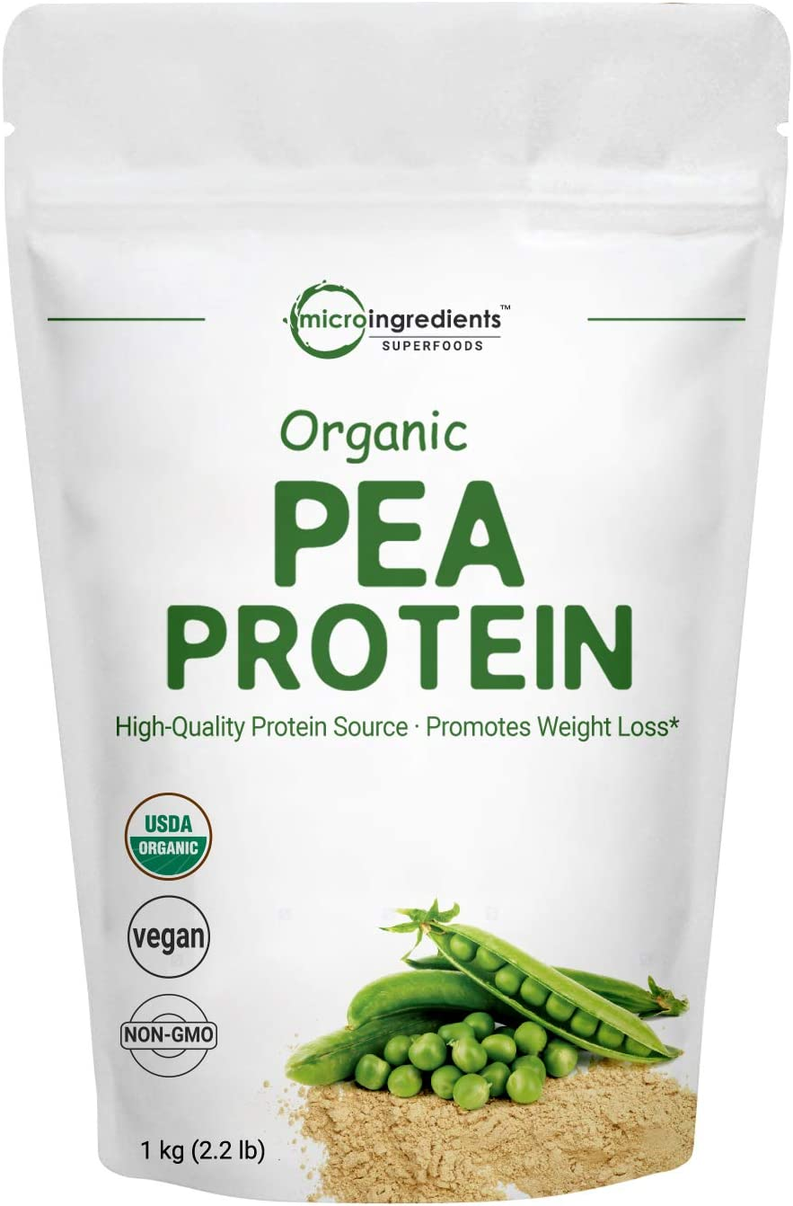 Organic Pea Protein Powder, 1KG (2.2 Pounds), Organic Protein from Plants, Easy to Digest, Rich in Essential Amino Acids,