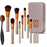 Make Up Brushes, Hey Beauty 12 Pieces Professional Makeup Brushes Set Cosmetics Foundation Blush Face Powder Brush Eyeshadow Brushes with Oval Toothbrush and Travel Box