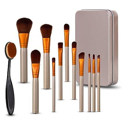 HeyBeauty Set de Brochas/Pinceles para Maquillaje Profesional, 12 Piezas, multifuncional para Base, Polvo, Crema, Rubor, Sombra con Estuche de Viaje