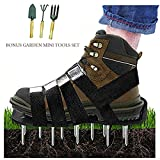 Kyпить Upgraded Lawn Aerator Shoes Heavy Duty Spiked Aerating Lawn Sandals With 4 Heal Adjustable Metal Buckles Straps&1x Heal Elastic Design for Aerating Garden Yard(Gift:3 Pieces Garden Mini Tools Set) на Amazon.com