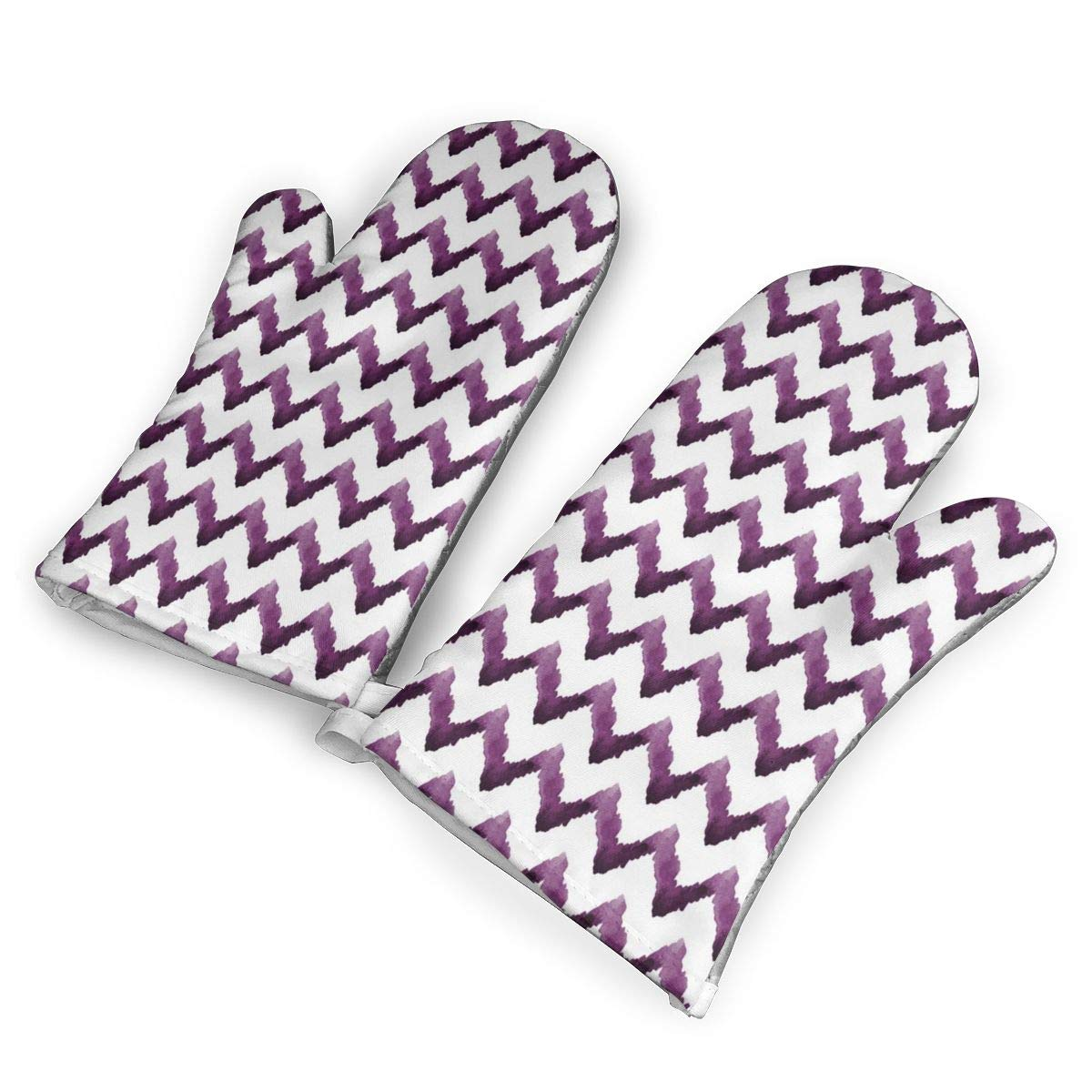 Oven Mitts 5.5 X 12 In Watercolor Chevron Stripe Purple Non-Slip Kitchen Oven Gloves Heat Resistant Washable Cotton Lining by KIXYOUHUU