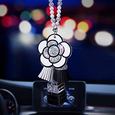 BabYoung Diamond Bling Crystal Car Pendant Rear View Mirror Ornament Accessories Camellia Perfume Hanging Decor for Car or Home (White): Automotive