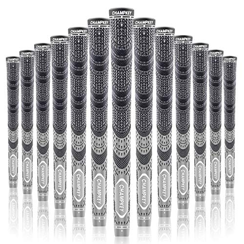 Champkey MCS Golf Grips Set of 13(Free 15 Tapes Included) -Larger Lower Hand & Cord Rubber Golf Club Grips Ideal for Clubs Wedges Drivers Irons Hybrids