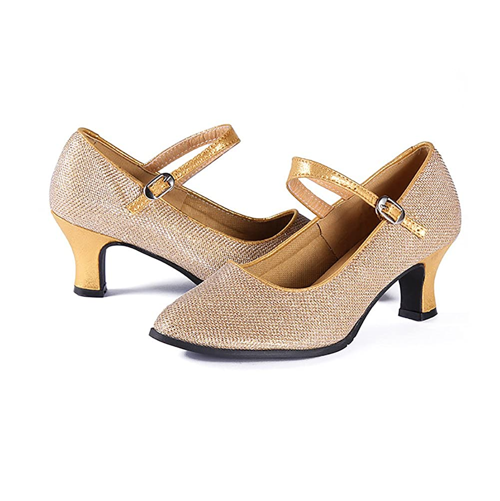 WYMNAME Womens Latin Dance Shoes,Modern Dance Shoes Middle Heels Leather Social Dancing Shoes Dancing Shoes
