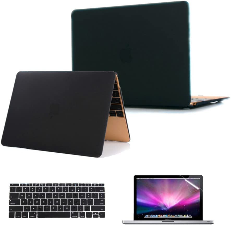 Se7enline Compatible with MacBook 12 inch Case Model A1534/A1931 2015/2016/2017/2018/2019 Version Laptop Hard Shell Protective Case&Keyboard Cover Skin&Screen Protector,Black