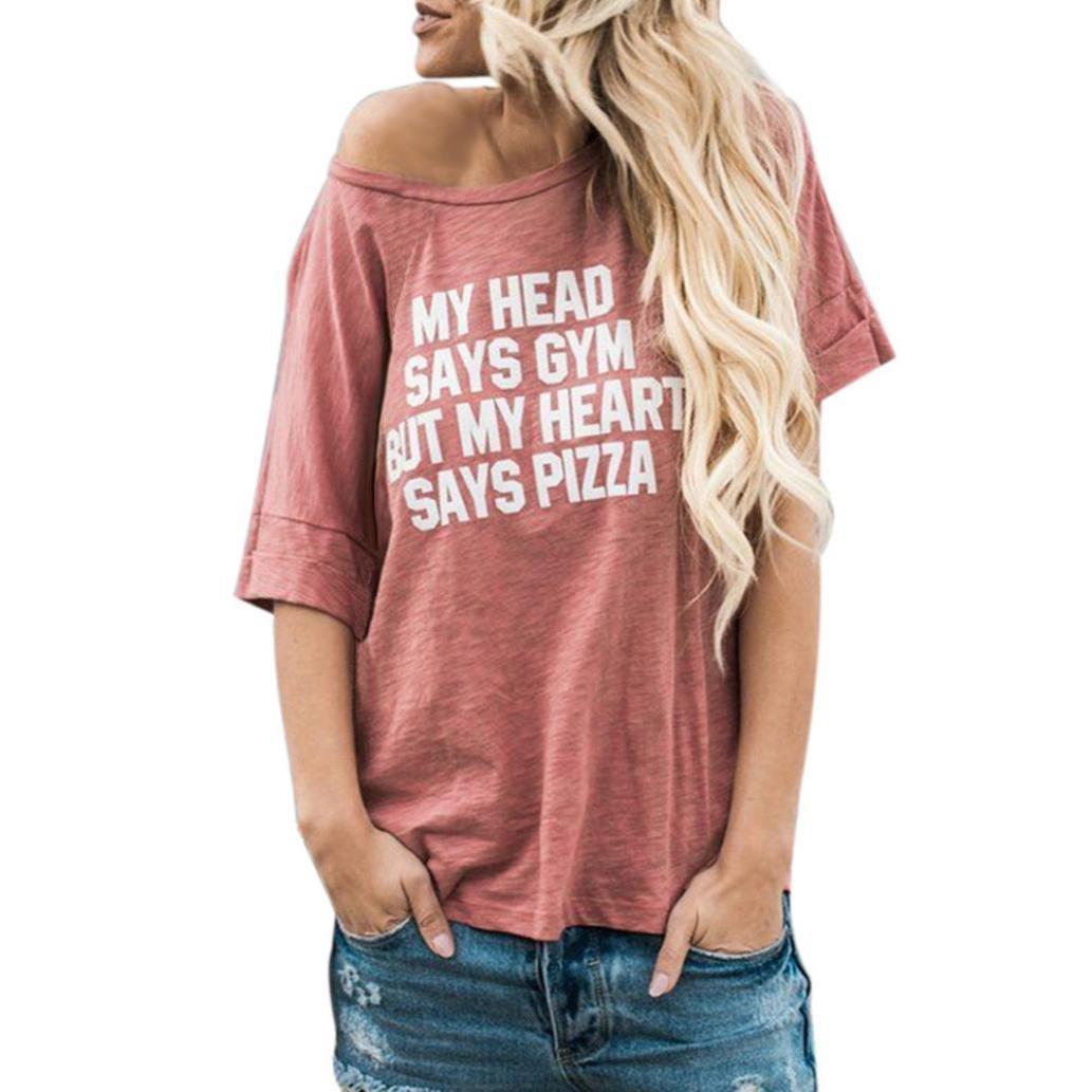 Vestiti da donna, MEIbax Donna Estate Lettera Stampata O-Neck Camicetta Manica Corta T-Shirt Top Spalline (S, Rosa)