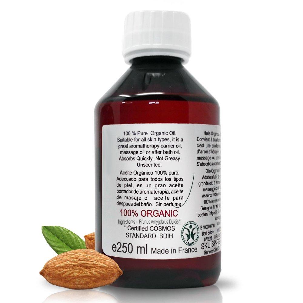 B.O.T Cosmetic & Wellness - Aceite de Almendras Ecológico Prensado en Frío 100% Puro 250 ml: Amazon.es: Salud y cuidado personal