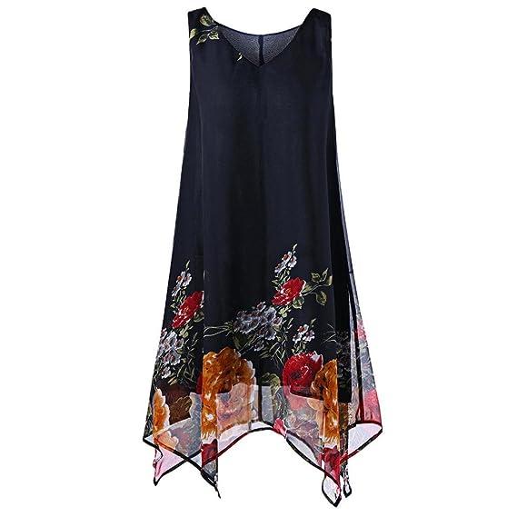 0c1ef49782f2 JYC Vestidos Largos, Vestidos Mujer Verano 2018 Vintage Mujer Rayado  Bohemia Vestido,Mujeres Más tamaño Floral impresión paño sin Mangas  Irregular ...
