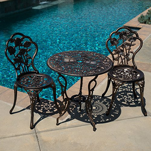 Attractive Antique Finish 3pcs Cast Aluminum Outdoor Patio Bistro Table Chair Set (Antique - Navy Soho Nyc