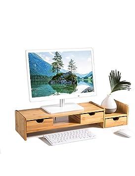 PIPIXIA Soportes de Monitor de bambú universales Altavoz TV PC Ordenador portátil Pantalla Vertical Ordenador de Escritorio 20 Pulgadas con Estante (Tamaño ...