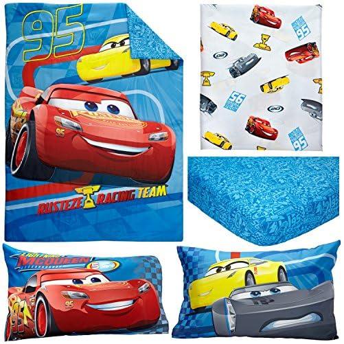 Disney Cars Rusteze Racing Team 4 Piece Toddler Bedding Set, Blue/Red/Yellow/White 3