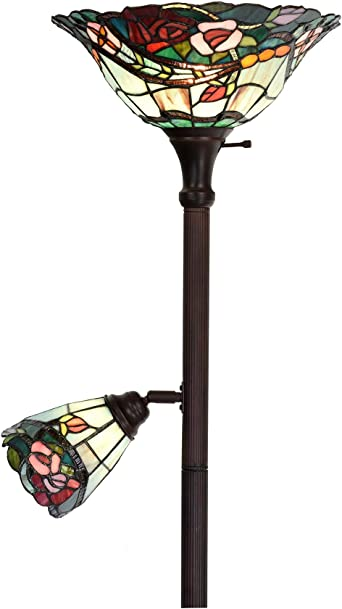 Bieye L10739 Rose Tiffany Style Stained Glass Torchiere Floor Lamp