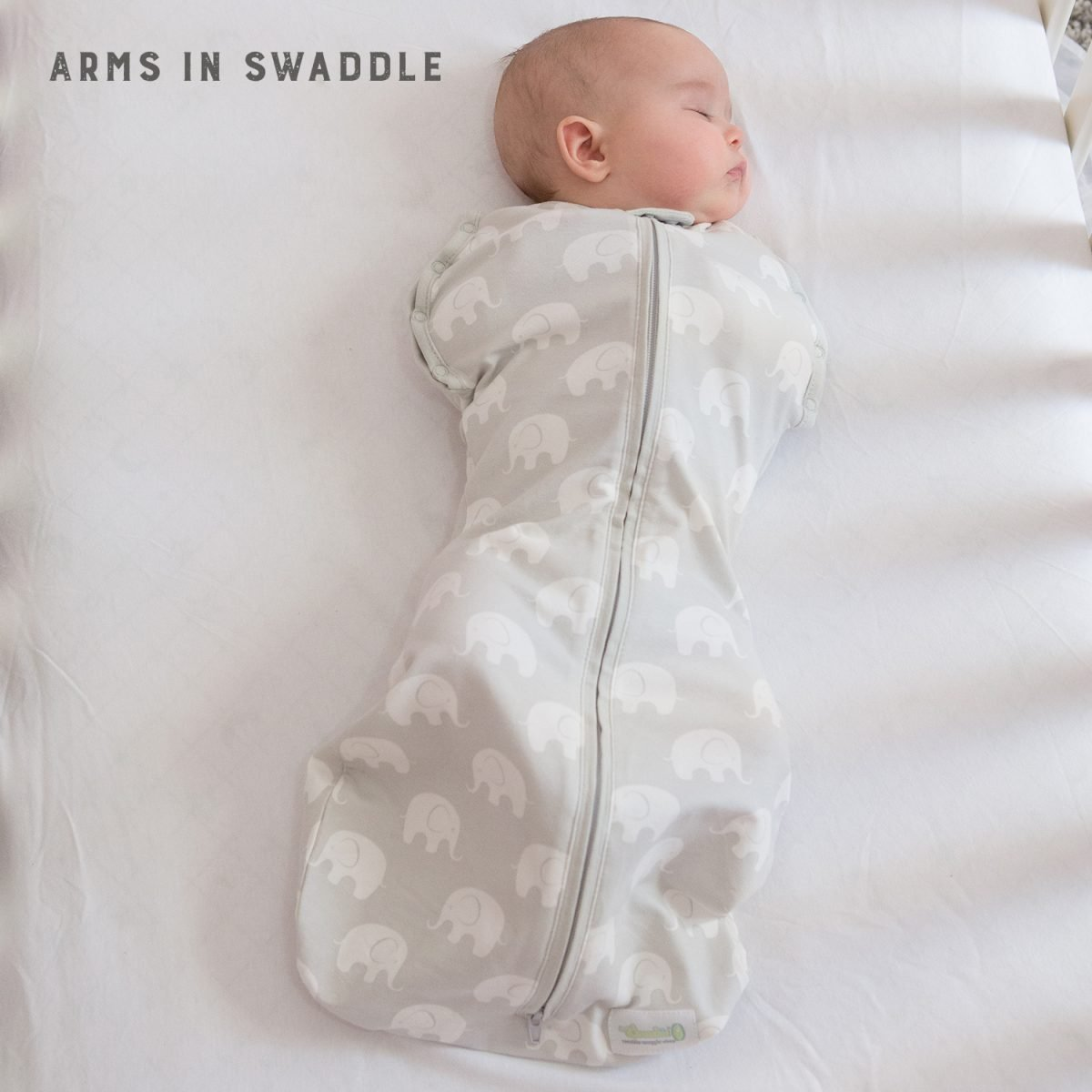Woombie Hybrid 4-in-1 Swaddle with Soothers, 6 Months Plus, Grey Elephant Print Best For Baby 01043