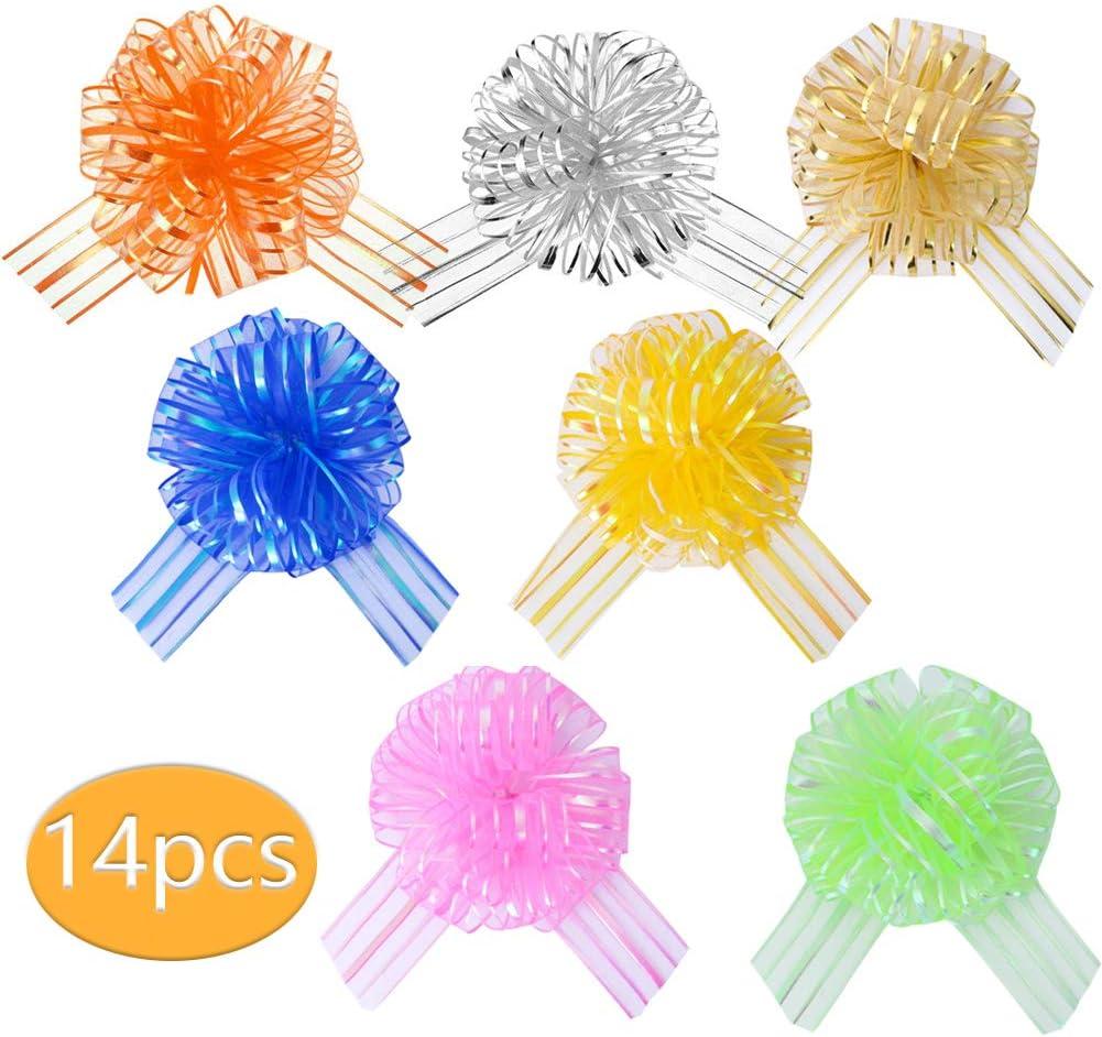 LaMure 14 Lazos de Organza Grandes de 6 Pulgadas para Envolver Regalos, Lazos, Cinta de Regalo, Boda, Regalo, Flores, cestas de decoración
