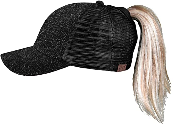 87214cd82f155 Funky Junque H-209-06 Messy Bun Ponytail Hat - Glitter (Black ...