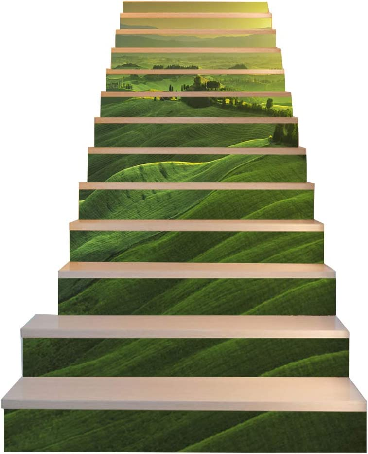 Benfa Etiqueta De La Escalera, 3D Europea Creative Verde Gama De La Montaña DIY Reformado Etiqueta Autoadhesiva Pared Etiqueta Impermeable 6 Piezas,13(Pieces): Amazon.es: Hogar