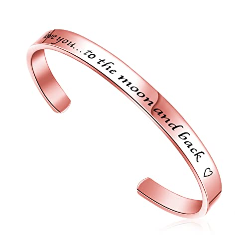 ccaa24984e7b LIUANAN Love Bracelet I Love You to The Moon and Back Cuff Bangle for  Valentines Gift