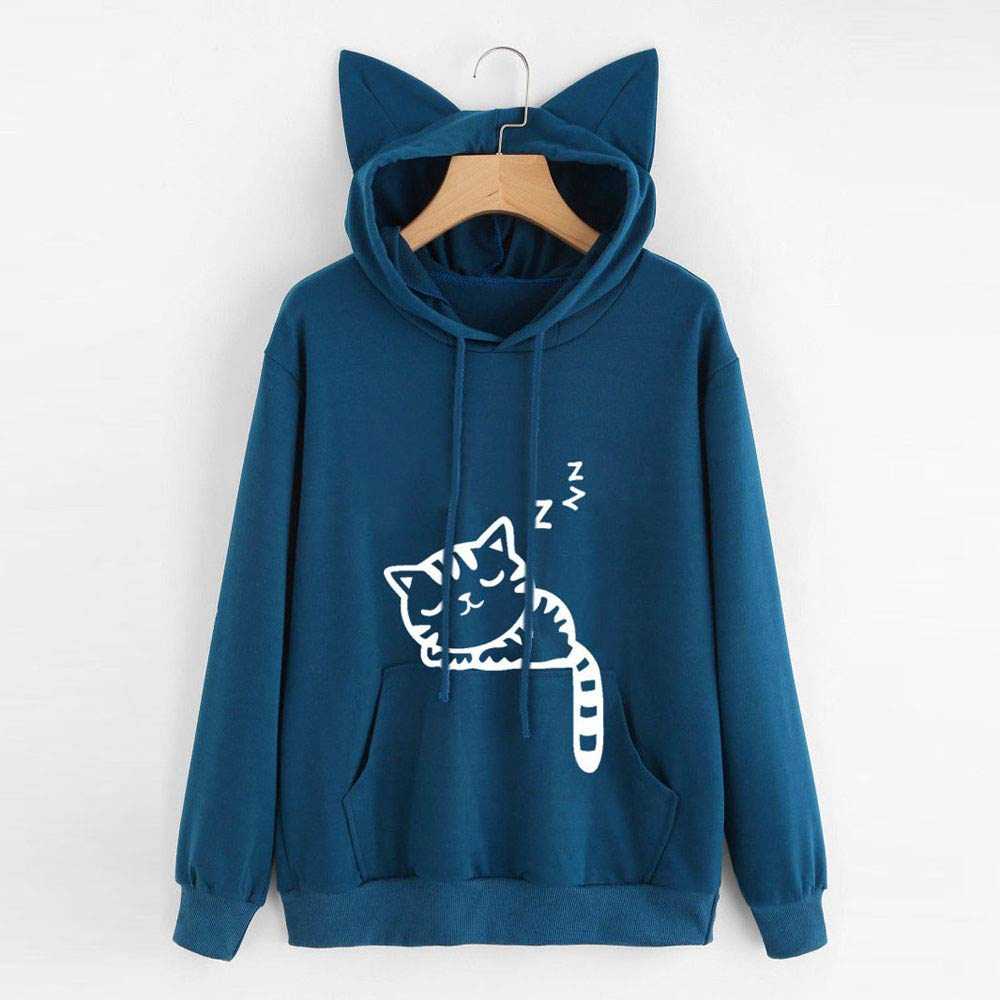 Sudaderas para Mujer,RETUROM❤Mujer Sudadera Tumblr Larga con Capucha Gato Oreja 1MA Cat Sudaderas para Adolescentes Chicas Camiseta de Manga Larga ...