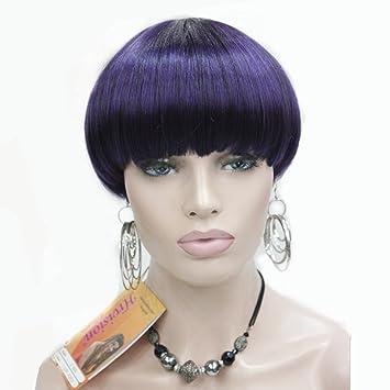 Strong Women Purpleblack Short Hair Full Wig Mushroom Head Bob Wig
