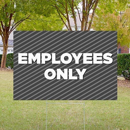 Stripes Gray Double-Sided Weather-Resistant Yard Sign 5-Pack CGSignLab Employees Only 18x12