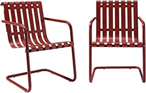 Crosley Furniture Gracie Retro Metal Outdoor Spring Chair - Coral Red (Set of 2)