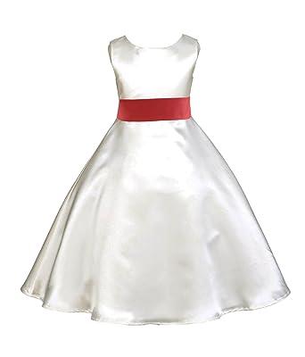 a66cd6b1b08 Ivory A-Line Satin Formal Flower Girl Dresses Junior Bridesmaid Dresses  821S 2