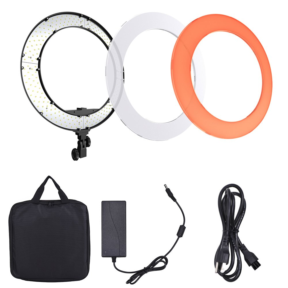 Andoer HD-18D 18 inch Studio Ring Light 55W 5600K Color Temperature Dimmable LED Video Light Lamp Built-in 252pcs SMD LEDs Digital Photographic Lighting CRI 95+