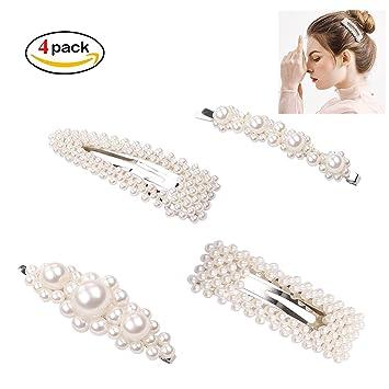 Eposeedor Horquillas Perlas, 4 Clips de Pelo para Mujer y ...