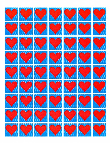 Heart Cardstock Sheet of 63 Large Red Heart Blue White Polka Dot Background Jewelry Making Clip Art Collage from Whimsyville USA