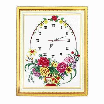 Reloj de flores patrón con sello hecho a mano de punto de cruz de punto de regalo para Lady: Amazon.es: Hogar