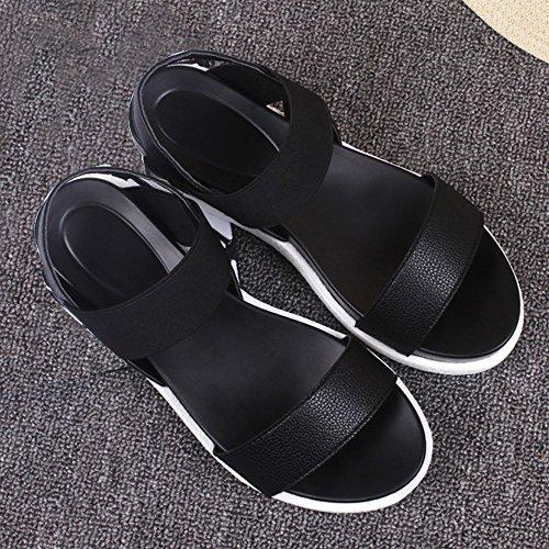 SKY Comfortable to wear it !!! Muffin de cabeza de pescado con sandalias de las mujeres cómodas Tacón bajo Negro