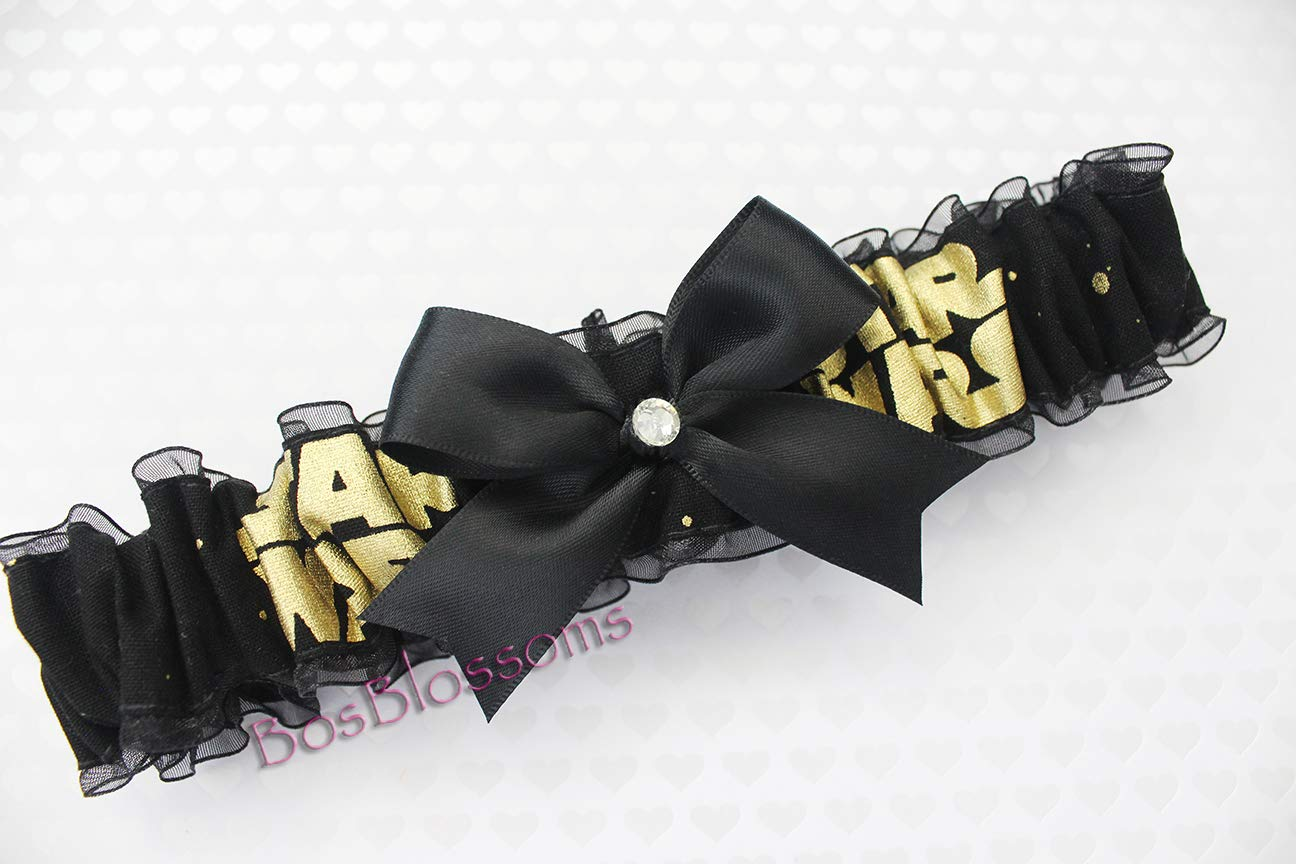 Custom sizing - Star Wars fabric handmade on black sheer organza into wedding bridal prom garter - Metallic gold
