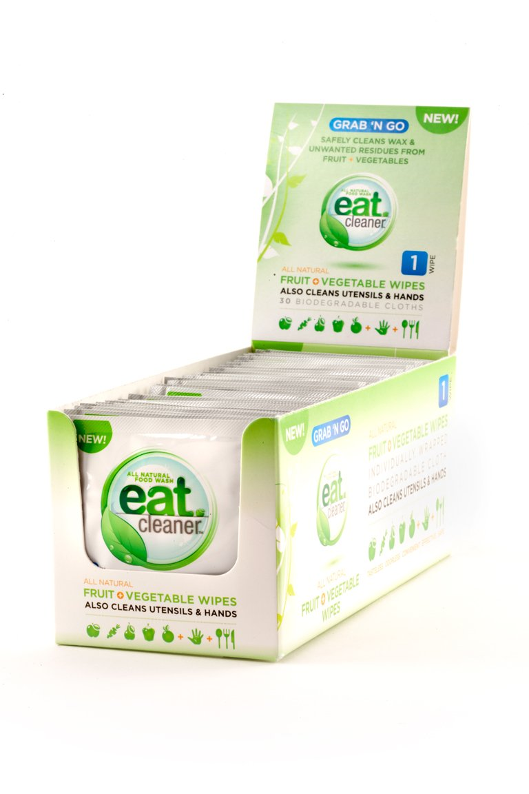 Eat Cleaner Fruit and Vegetable Travel Wipes, Individually Wrapped to Remove Harmful Bacteria and Chemicals Where There is No Water, 1-Tray (30 ct)