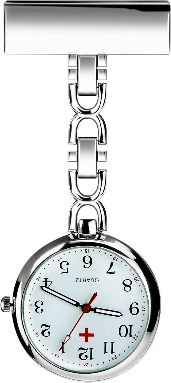 BestFire Enfermera solapa pin reloj con clip colgante médico reloj de bolsillo Hombres mujeres cuarzo colgante médico relojes de bolsillo enfermeras reloj con caja de regalo